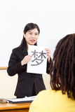 kinesisk språklärare Arkivbild