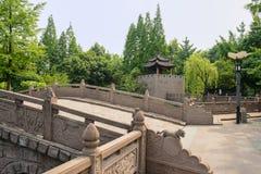 Kinesisk stenbågebro med präglade balustrader i grönskande s arkivbild