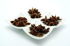 Kinesisk stjärnaanis; Växt- & organisk mat på vit bakgrund Arkivfoto