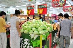Kinesisk supermarket Arkivfoto