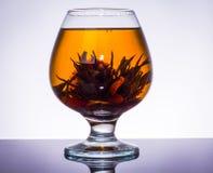 Kinesisk tea i ett exponeringsglas Royaltyfri Bild