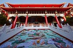 Kinesisk tempel och Kina drakesymboler Fotografering för Bildbyråer