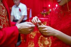 Kinesisk traditionell bröllopceremoni Royaltyfri Bild