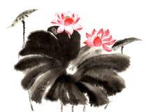 Kinesisk traditionell distingerad ursnygg dekorativ hand-målad färgpulver-vatten lilja Royaltyfri Bild