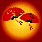 Kinesisk traditionell röd fan stock illustrationer