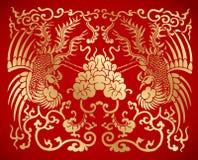 Kinesisk traditionell tappning två Phoenix Royaltyfria Bilder