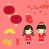 Kinesisk uppsättning för nytt år Arkivfoto