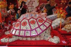 Kinesisk välsignelse för nytt år i Taiwan. (pengarsköldpadda) Royaltyfri Fotografi