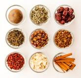kinesisk växt- ingrediensmedicin Fotografering för Bildbyråer