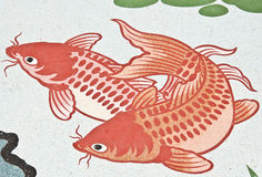 kinesisk vägg för fiskmålningstempel Royaltyfri Bild