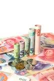 Kinesisk valuta som bildar en graf fotografering för bildbyråer