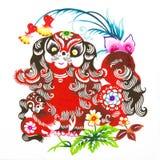 kinesisk zodiac för papper för färgcuttinghund royaltyfria bilder
