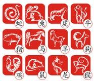 Kinesisk zodiakteckendesign royaltyfri illustrationer