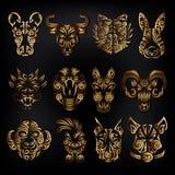Kinesisk zodiakteckenuppsättning royaltyfri illustrationer