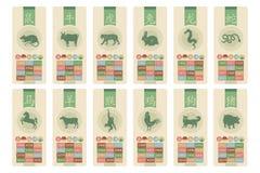 Kinesisk zodiakuppsättning Arkivfoton