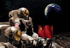 Kinesiska astronaut på månen royaltyfri illustrationer
