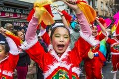 Kinesiska berömmar för nytt år i Usera Madrid, Spanien Fotografering för Bildbyråer