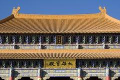 kinesiska closeupeaves roof tempelet Arkivfoto