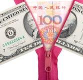 kinesiska dollar oss yuan arkivbild