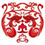 Kinesiska drakar i röd färg Royaltyfri Foto
