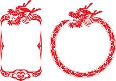 kinesiska drakeillustrationer för kant Royaltyfri Bild