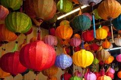 kinesiska färgrika lyktor Fotografering för Bildbyråer