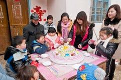 Kinesiska familjfödelsedagar Fotografering för Bildbyråer