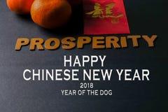 Kinesiska festivalgarneringar för det nya året, röda paket och mandariner, guld- kinesiskt bokstavshjälpmedel lyckas royaltyfri bild