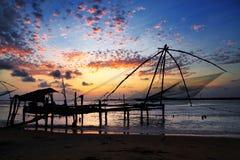 Kinesiska fisknät på fortet Kochi Royaltyfri Bild