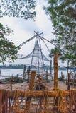 Kinesiska fisknät på kochi kerala kostnad royaltyfri bild