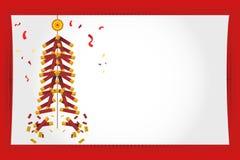 kinesiska fyrverkerier för kort som greeting nytt år Royaltyfri Bild