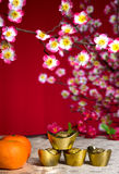 Kinesiska garneringar för nytt år, det generiska kinesiska teckenet symboliserar Arkivbild