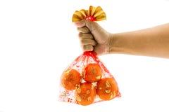 Kinesiska garneringar för nytt år, lovande kinesisk röding för orange påse Royaltyfria Bilder