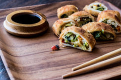 Kinesiska grönsakvårrullar/Borek med sojabönasojasås och ch arkivbild