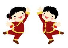Kinesiska hälsningsbarn för nytt år Royaltyfri Bild
