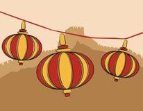 kinesiska lampor vektor illustrationer