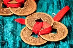 Kinesiska lyckliga mynt Arkivfoton