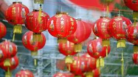 Kinesiska lyktor för nytt år i chinatown stock video