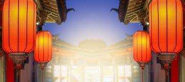 Kinesiska lyktor för nytt år i gammalt stadområde, Kina royaltyfri fotografi