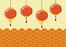 Kinesiska lyktor för nytt år med traditionell vågbakgrund stock illustrationer