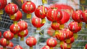 Kinesiska lyktor för nytt år med välsignelsetext stock video