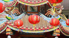 Kinesiska lyktor för nytt år med välsignelsetext arkivfilmer