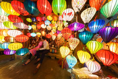 Kinesiska lyktor i hoi-an, vietnam Arkivfoto