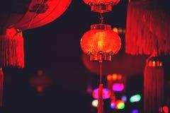 Kinesiska lyktor i natten royaltyfri foto