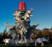 Kinesiska lyktor med elefanter arkivfoton