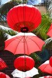 Kinesiska lyktor och paraplyer, Mauritius Arkivbild
