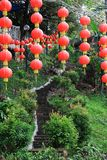 Kinesiska lyktor på den kinesiska templet Royaltyfri Fotografi