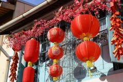 Kinesiska lyktor på Haji Lane Arkivfoto