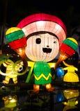 Kinesiska lyktor som visar den mexicanska tecknade filmen arkivbild