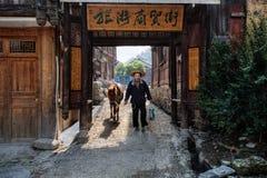 Kinesiska män i bredbrättad rottinghatt håller hästen in omkring Arkivbild